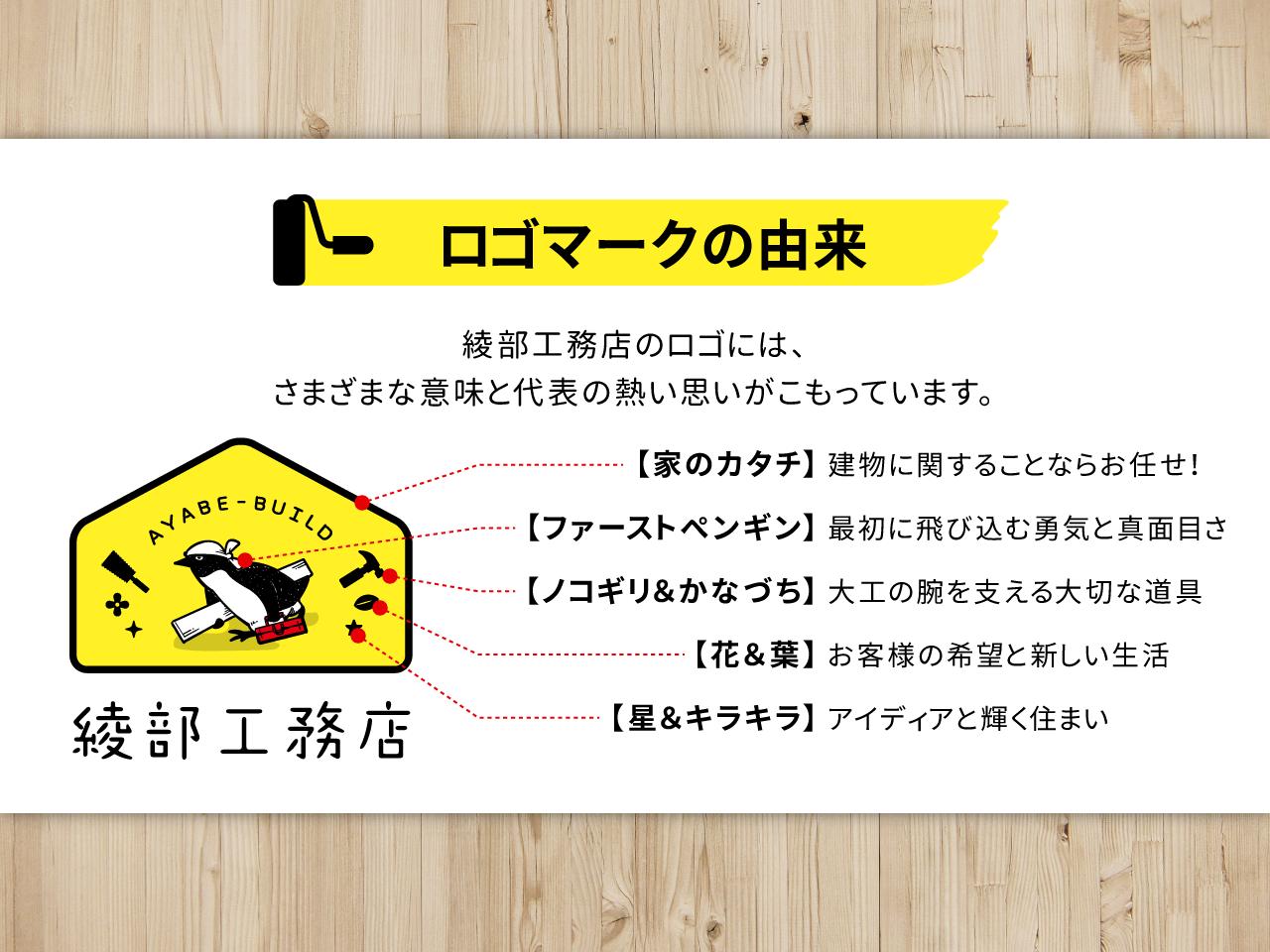 ロゴマークの由来 綾部工務店のロゴには、さまざまな意味と代表の熱い思いがこもっています。